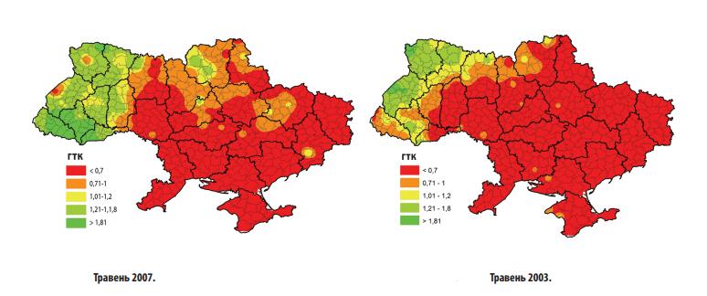 Ступінь посушливості в Україні